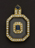 Estate Jewelry:Pendants and Lockets, Terrific Diamond & Sapphire Gold Pendant. ...