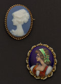 Estate Jewelry:Cameos, Limoges Enamel & Haviland Porcelain Gold Cameo Pins. ... (Total: 2 Items)