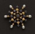 Estate Jewelry:Brooches - Pins, Fine Sapphire & Pearl Gold Pin. ...