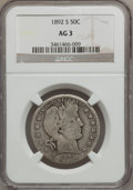 Barber Half Dollars: , 1892-S 50C AG3 NGC. NGC Census: (0/168). PCGS Population (29/338).Mintage: 1,029,028. Numismedia Wsl. Price for problem fr...