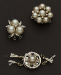 Estate Jewelry:Pearls, Three Pearl Clasp For Strands Of Pearls. ... (Total: 3 Items)