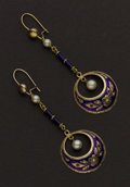 Estate Jewelry:Earrings, Enamel & Pearl Gold Earrings. ...