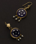 Estate Jewelry:Earrings, Blue Enamel & Pearl Gold Earrings. ...