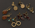 Estate Jewelry:Earrings, Five Pair Of Gold Earrings. ... (Total: 5 Items)