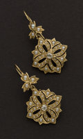 Estate Jewelry:Earrings, Pearl & Diamond Gold Earrings. ...