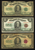 Canadian Currency: , DC-25i $1 1923 Two Examples. DC-25j $1 1923. ... (Total: 3 notes)