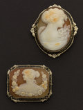 Estate Jewelry:Cameos, Two Estate 14k Gold Shell Cameos. ... (Total: 2 Items)