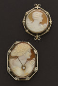 Estate Jewelry:Cameos, Two 14k Gold Shell Cameos. ... (Total: 2 Items)