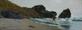 Fine Art - Painting, American:Antique  (Pre 1900), THADDEUS WELCH (American, 1844-1919). Lion Rock, Bolinas,1896. Oil on canvas. 14 x 36 inches (35.6 x 91.4 cm). Signed a...