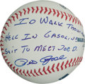 "Autographs:Baseballs, Pete Rose ""I'd Walk Through Hell In A Gasoline Suit To Meet Joe D.""Single Signed Ball...."