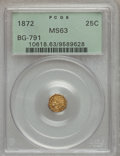California Fractional Gold: , 1872 25C Indian Octagonal 25 Cents, BG-791, R.3, MS63 PCGS. PCGSPopulation (75/111). NGC Census: (12/23). (#10618)...