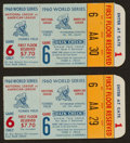 Baseball Collectibles:Tickets, 1960 World Series Game 6 Ticket Stubs Lot of 2....