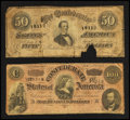 Confederate Notes:1864 Issues, T65 $100 1864. T66 $50 1864 with Poem Representing Nothing On God's Earth Now.. ... (Total: 2 notes)