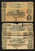 Confederate Notes:1864 Issues, T68 $10 1864 Four Examples. T69 $5 1864 Three Examples.. ... (Total: 7 notes)