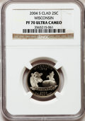 Proof Statehood Quarters, 2004-S 25C Wisconsin Clad PR70 Ultra Cameo NGC. NGC Census: (1088).PCGS Population (219). Numismedia Wsl. Price for probl...