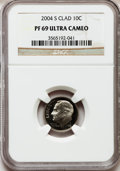 Proof Roosevelt Dimes, 2004-S 10C Clad PR69 Ultra Cameo NGC. NGC Census: (896/453). PCGSPopulation (1940/195). Numismedia Wsl. Price for problem...