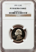 Proof Washington Quarters: , 1991-S 25C PR70 Ultra Cameo NGC. NGC Census: (191). PCGS Population(188). Numismedia Wsl. Price for problem free NGC/PCGS...