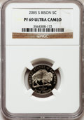 Proof Jefferson Nickels, 2005-S 5C Bison PR69 Ultra Cameo NGC. NGC Census: (15005/3517).PCGS Population (12945/650). Numismedia Wsl. Price for pro...