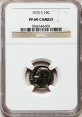 Proof Roosevelt Dimes: , 1972-S 10C PR69 Cameo NGC. NGC Census: (46/0). PCGS Population(102/0). Numismedia Wsl. Price for problem free NGC/PCGS co...