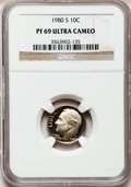 Proof Roosevelt Dimes: , 1980-S 10C PR69 Ultra Cameo NGC. NGC Census: (455/68). PCGSPopulation (5125/255). Numismedia Wsl. Price for problem free ...