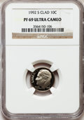 Proof Roosevelt Dimes: , 1992-S 10C Clad PR69 Ultra Cameo NGC. NGC Census: (221/241). PCGSPopulation (2342/246). Numismedia Wsl. Price for problem...