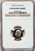 Proof Roosevelt Dimes: , 1993-S 10C Clad PR69 Ultra Cameo NGC. NGC Census: (264/218). PCGSPopulation (2162/220). Numismedia Wsl. Price for problem...