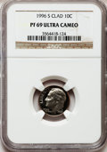 Proof Roosevelt Dimes: , 1996-S 10C Clad PR69 Ultra Cameo NGC. NGC Census: (210/165). PCGSPopulation (2077/137). Numismedia Wsl. Price for problem...