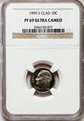 Proof Roosevelt Dimes: , 1999-S 10C Clad PR69 Ultra Cameo NGC. NGC Census: (1772/410). PCGSPopulation (1619/206). Numismedia Wsl. Price for proble...