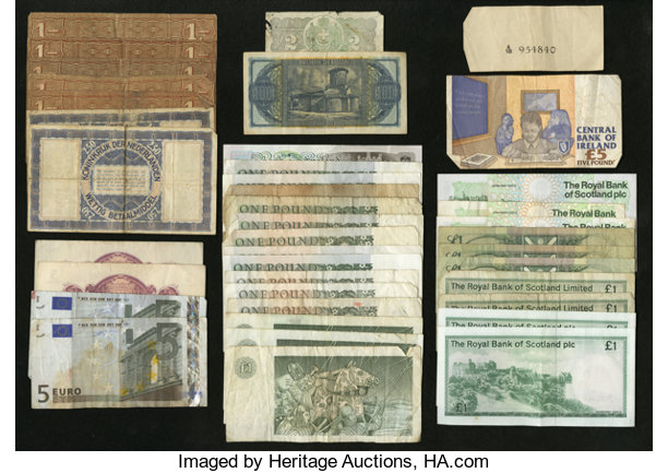 World Currency British Pounds Scottish Banks Euros And More