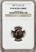 Proof Roosevelt Dimes, 2001-S 10C Clad PR69 Ultra Cameo NGC. NGC Census: (579/402). PCGSPopulation (2584/280). Numismedia Wsl. Price for problem...