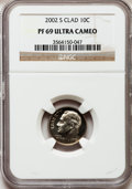 Proof Roosevelt Dimes, 2002-S 10C Clad PR69 Ultra Cameo NGC. NGC Census: (1084/379). PCGSPopulation (2228/150). Numismedia Wsl. Price for proble...