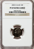 Proof Roosevelt Dimes: , 2003-S 10C Clad PR69 Ultra Cameo NGC. NGC Census: (2442/1001). PCGSPopulation (2158/282). Numismedia Wsl. Price for probl...