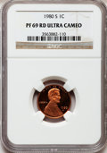 1980-S 1C PR69 Red Ultra Cameo NGC. NGC Census: (356/0). PCGS Population (1701/17). Numismedia Wsl. Price for problem fr...