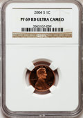 Proof Lincoln Cents, 2004-S 1C PR69 Red Ultra Cameo NGC. NGC Census: (3949/492). PCGSPopulation (4979/268). Numismedia Wsl. Price for problem ...