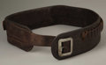 """Western Expansion:Cowboy, NEW MEXICO CARTRIDGE / MONEY BELT ca. 1890's - A 3½ classic styled belt with the retailers stamp on backing. """"Sold by Maga..."""