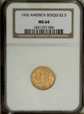 Commemorative Gold: , 1926 $2 1/2 Sesquicentennial MS64 NGC. Gold-orange with a touch ofmint-green at the periphery. Frosty and lightly marked w...