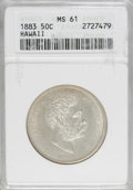 Coins of Hawaii: , 1883 50C Hawaii Half Dollar MS61 ANACS. From a scarcer Hawaiiandenomination, this piece exhibits pale chestnut-gold hues a...