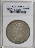 Coins of Hawaii: , 1883 $1 Hawaii Dollar--Cleaned--ANACS. AU53 Details. Well struck with partly retoned gold-gra...