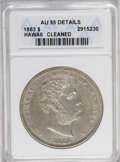 Coins of Hawaii: , 1883 $1 Hawaii Dollar--Cleaned--ANACS. AU55 Details. Thesilver-gray surfaces are tinged viol...