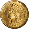 1890 1C One Cent, Judd-1758, Pollock-1971, R.8, PR63 NGC. Struck from regular issue dies in copper-nickel with a plain e...