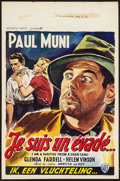 "Movie Posters:Film Noir, I Am a Fugitive from a Chain Gang (Warner Brothers, R-1950s). Belgian (14"" X 21.5""). Film Noir.. ..."
