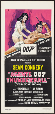 "Thunderball (United Artists, R-1970s). Italian Locandina (13"" X 27.5""). James Bond"