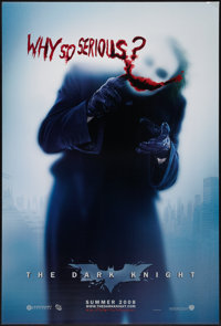 """The Dark Knight (Warner Brothers, 2008). One Sheet (27"""" X 41""""). DS Advance Style A """"Why So Serious?""""..."""