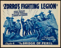 """Movie Posters:Serial, Zorro's Fighting Legion (Republic, 1939). Title Lobby Card (11"""" X14"""") Chapter 4 -- """"The Bridge of Peril."""" Serial.. ..."""