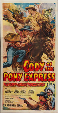 "Cody of the Pony Express (Columbia, 1950). Three Sheet (41"" X 81""). Serial"