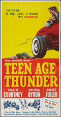 "Movie Posters:Exploitation, Teenage Thunder (Howco, 1957). Three Sheet (41"" X 81"").Exploitation.. ..."