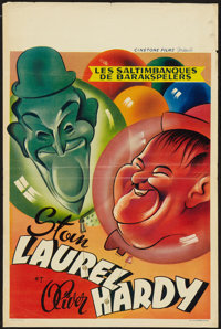 "Laurel and Hardy Stock (Cinetone Films, R-1960s). Belgian (14"" X 21.5""). Comedy"