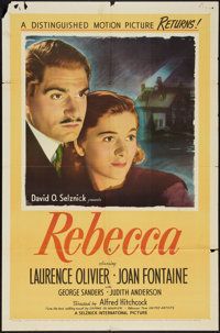 "Rebecca (United Artists, R-1946). One Sheet (27"" X 41""). Hitchcock"