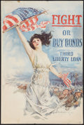 "Movie Posters:War, World War I Propaganda Poster by Howard Chandler Christy (Forbes,1918). Third Liberty Loan (20"" X 30"") ""Fight or Buy Bonds...."