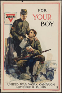 World War I United War Work Campaign (Comm. on Public Information, 1918). YMCA / War Work Campaign Propaganda Poster (20...